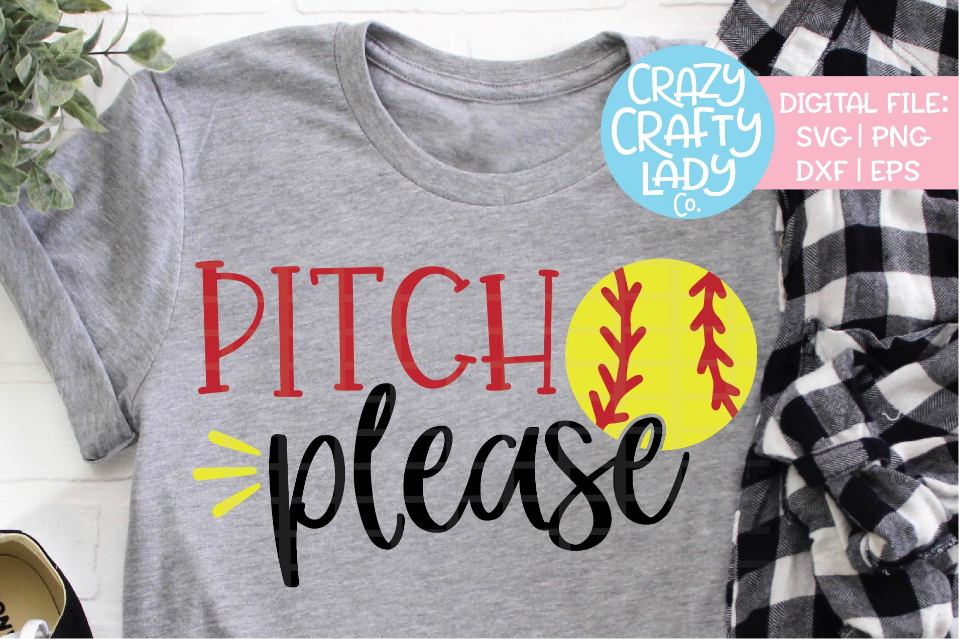 Pitch Please Softball SVG DXF EPS PNG Cut File example image 1