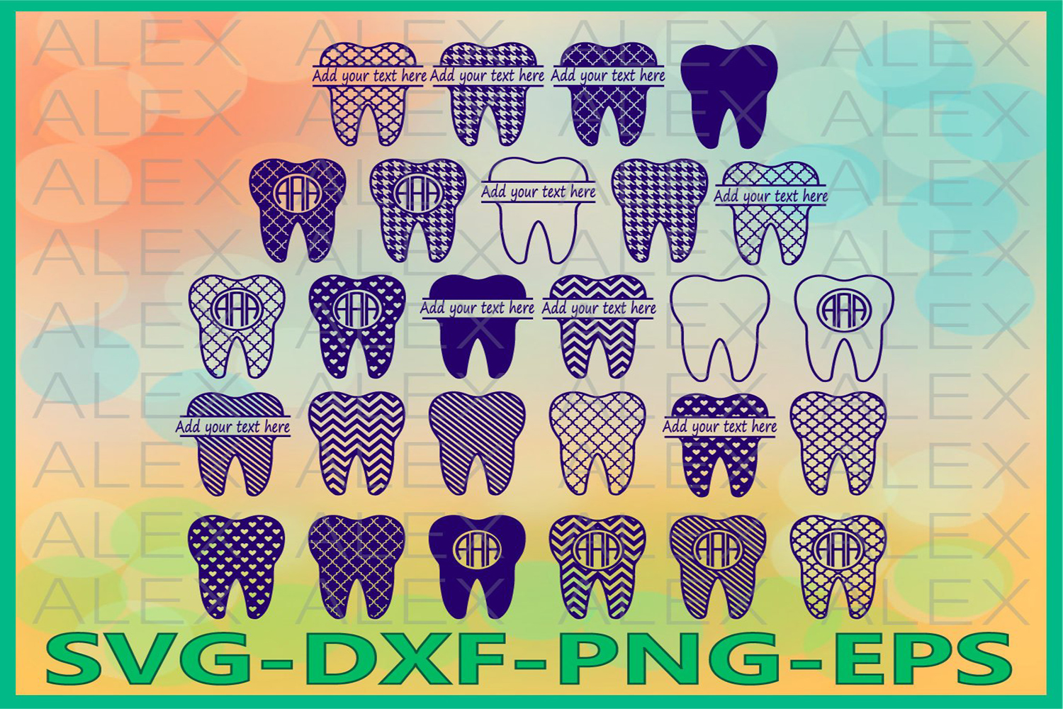 Tooth Monogram Files, Tooth Files, Tooth Svg Files example image 1
