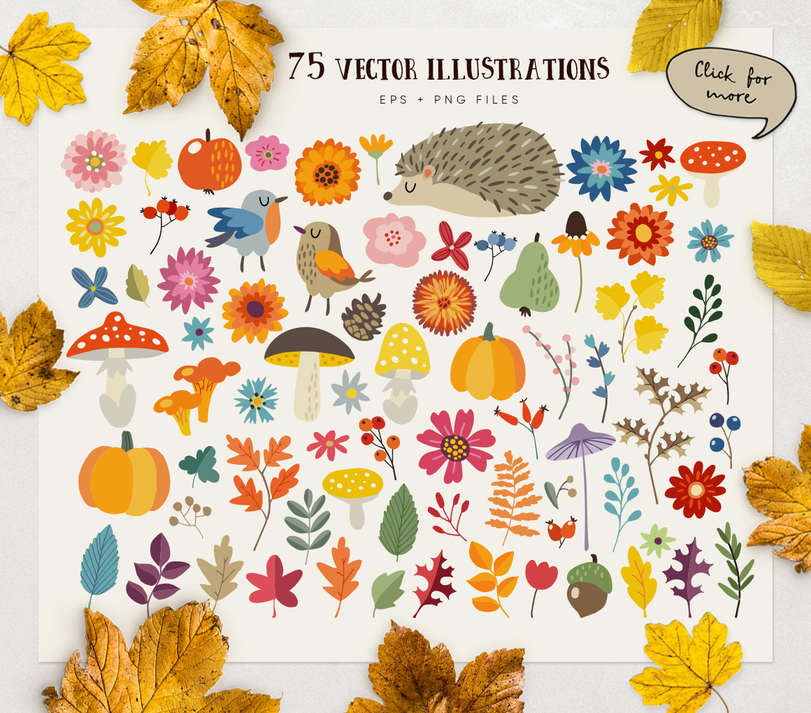 Autumn flowers graphic collection example image 6