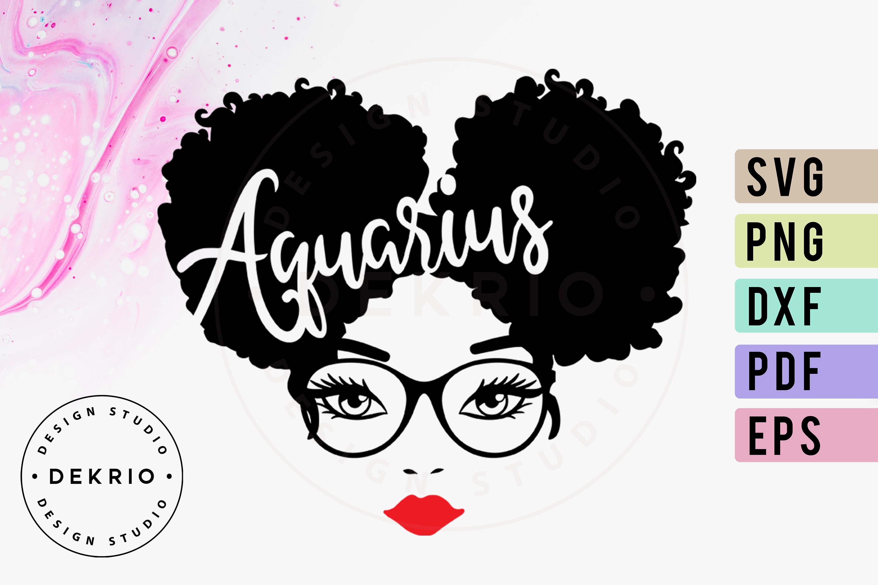 Aquarius Afro Woman SVG PNG DXF EPS PDF Files example image 1