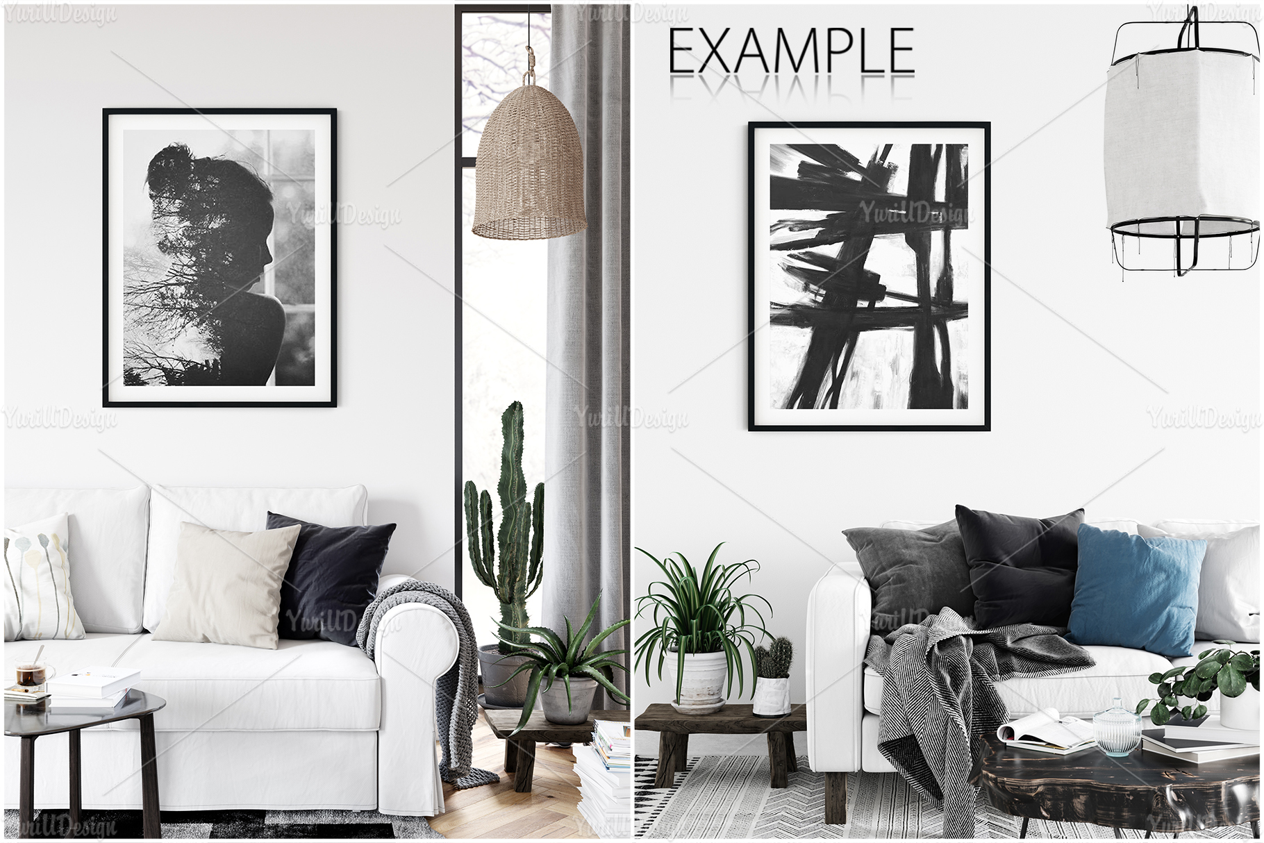 Scandinavian Interior Frames & Walls Mockup Bundle - 3 example image 27