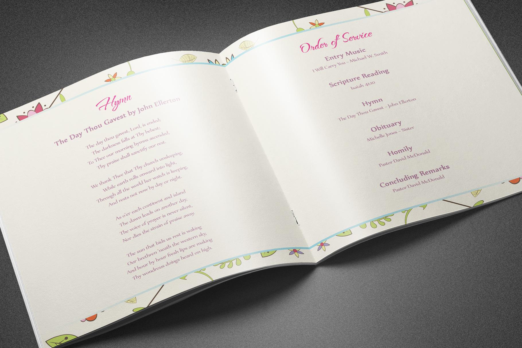 Floral Dreams Funeral Program example image 4