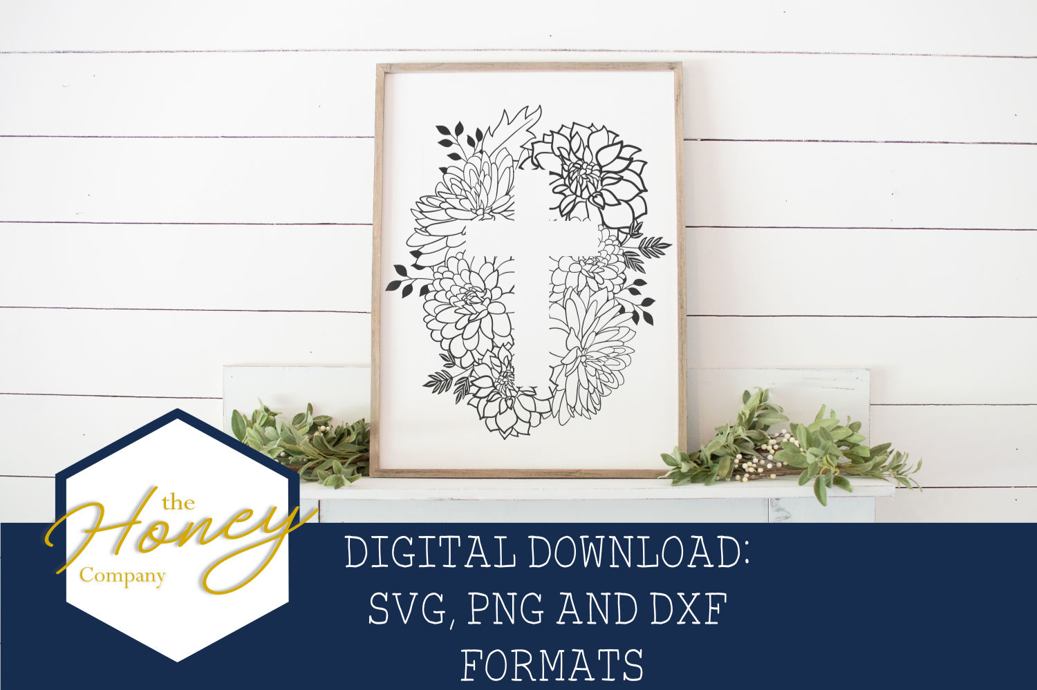 Floral Easter Cross SVG PNG DXF Cut File Vector Clipart example image 1