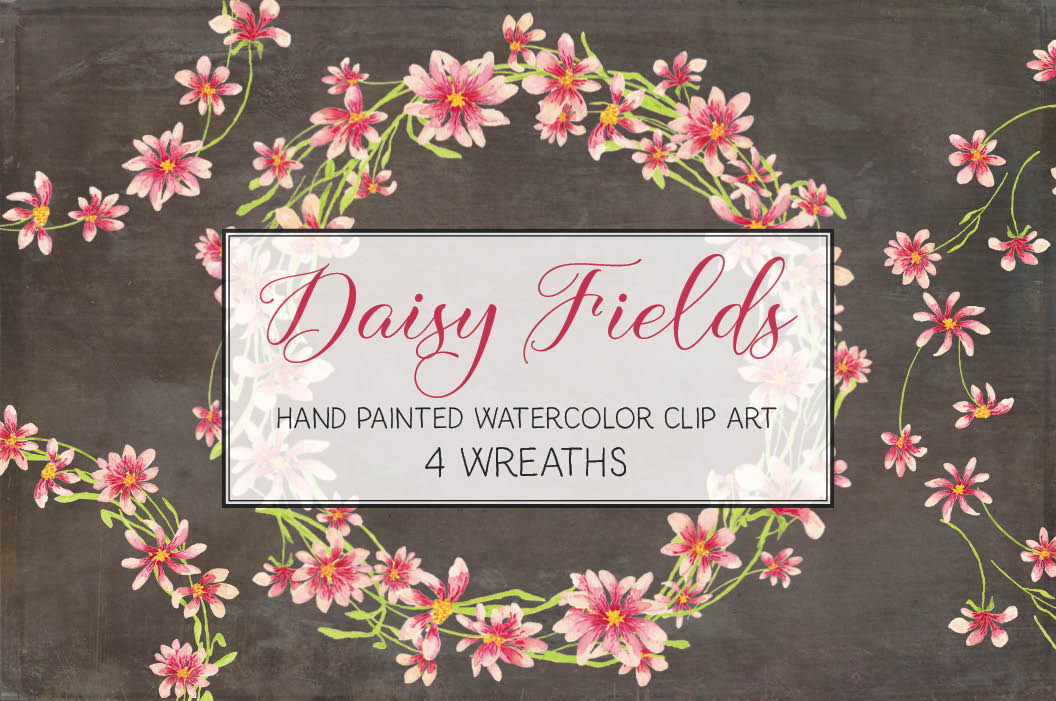 Watercolor wreath of pink daisies example image 1