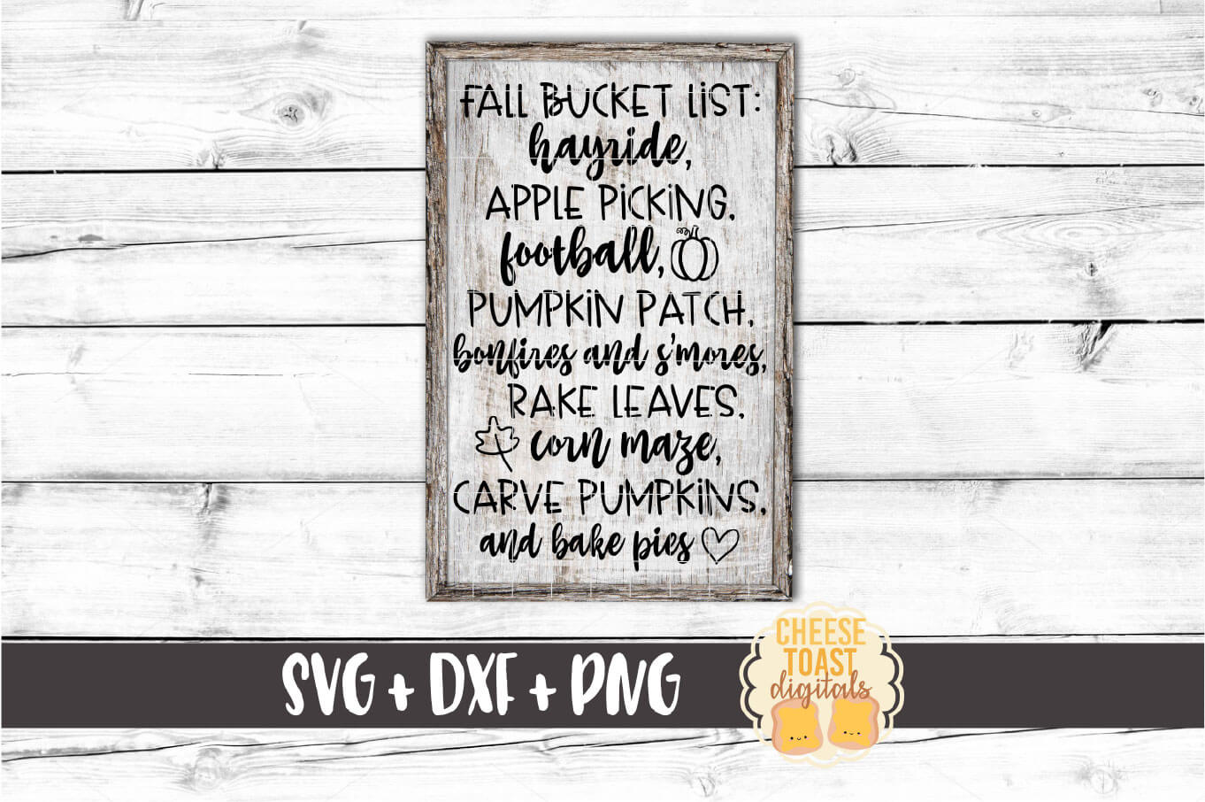 Fall Bucket List - Fall Sign SVG PNG DXF Cut Files example image 1