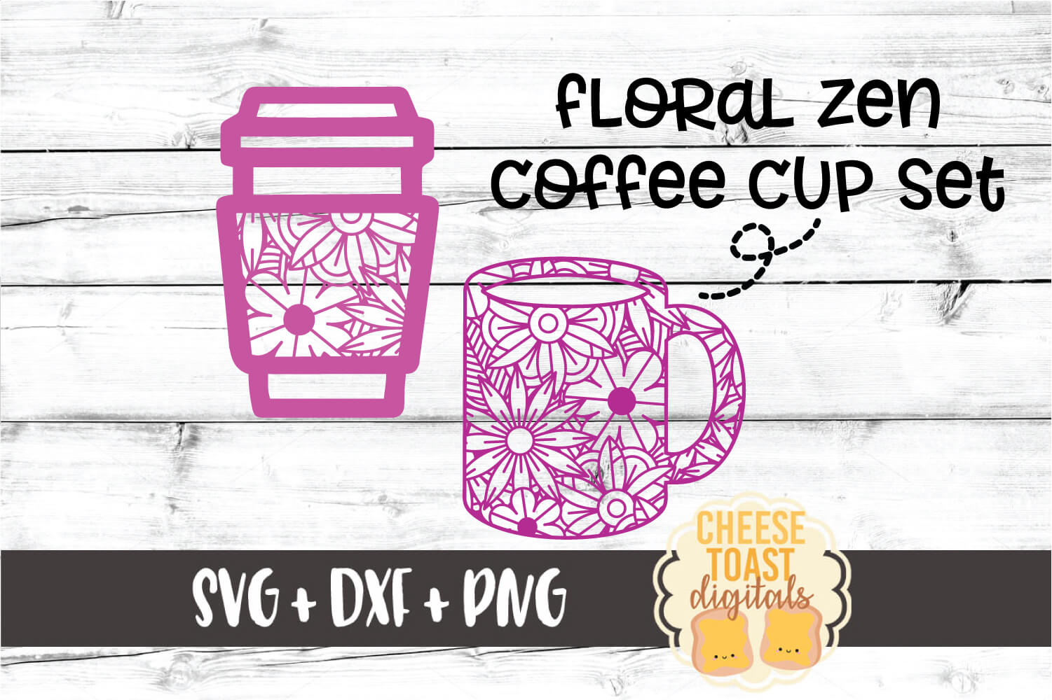 Floral Zen Coffee Cup Set - 2 Designs SVG PNG DXF Cut Files example image 1