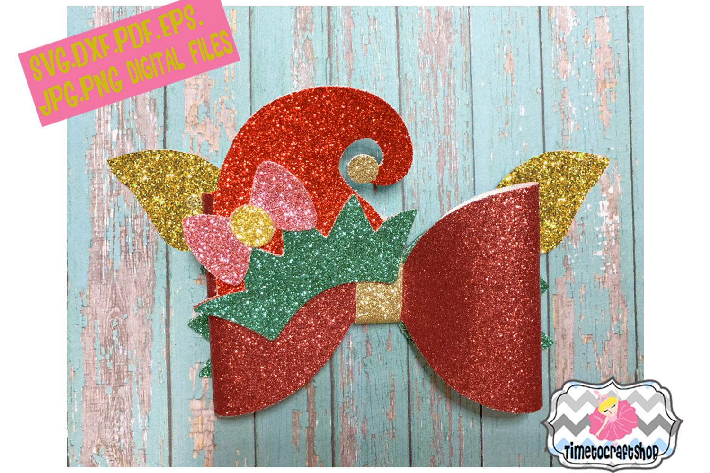Holiday Christmas Hair Bow Template Bundle example image 4