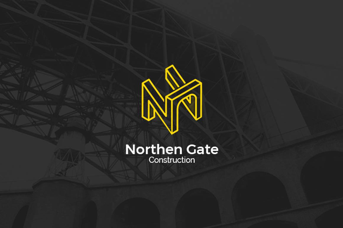 Letter N - Construction Gate Bridge Logo Logo Template example image 1