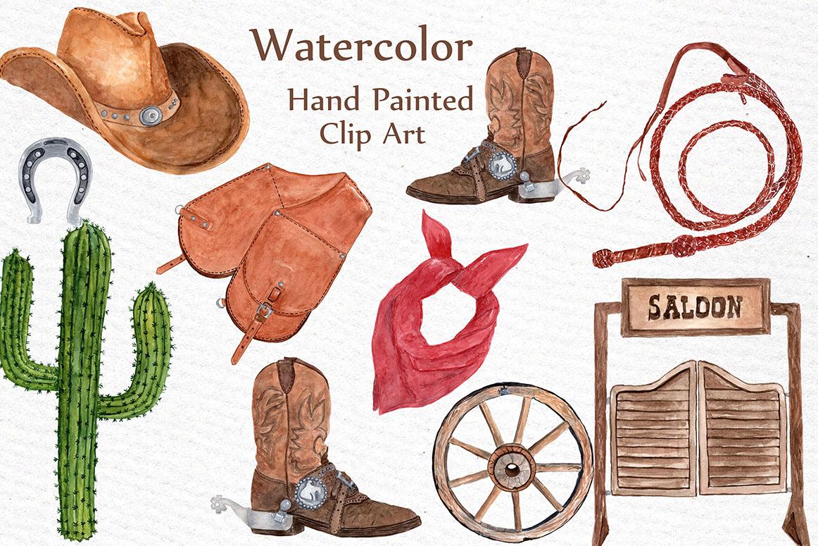 Watercolor Cowboy Clipart example image 3