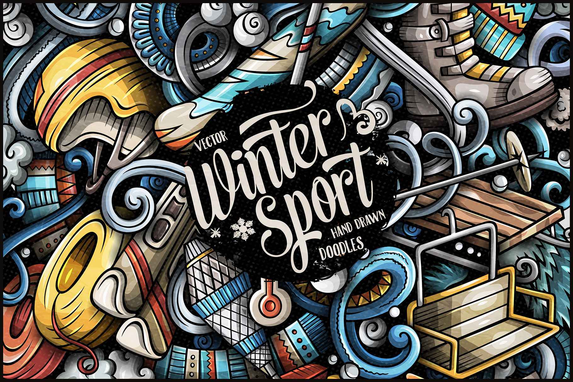 Winter Sports Vector Doodle Illustration example image 1