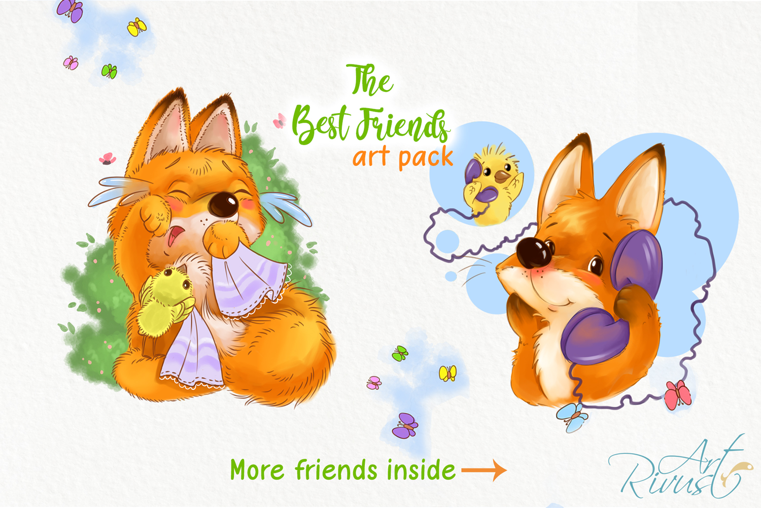 Fox and chick PNG clipart. The best friend graphic art. example image 4