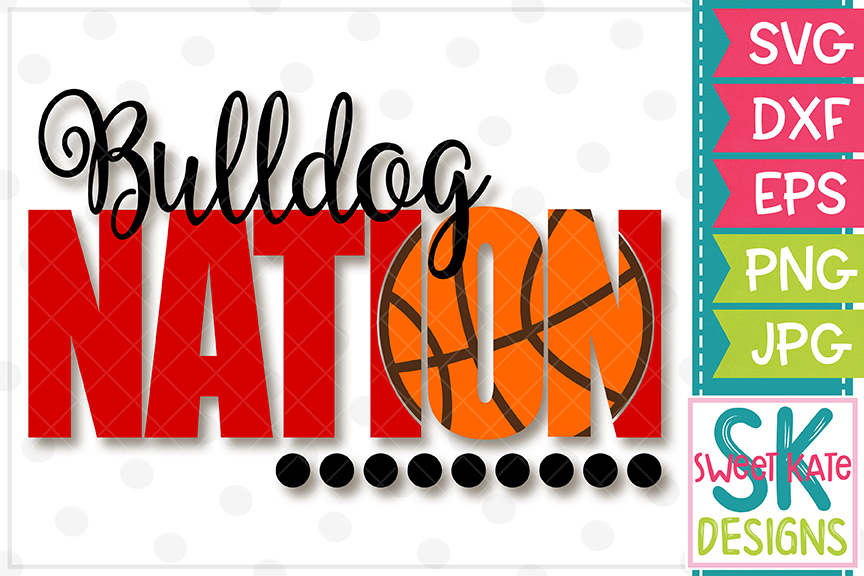 Bulldog Nation with Knockout Basketball SVG DXF EPS PNG JPG example image 2