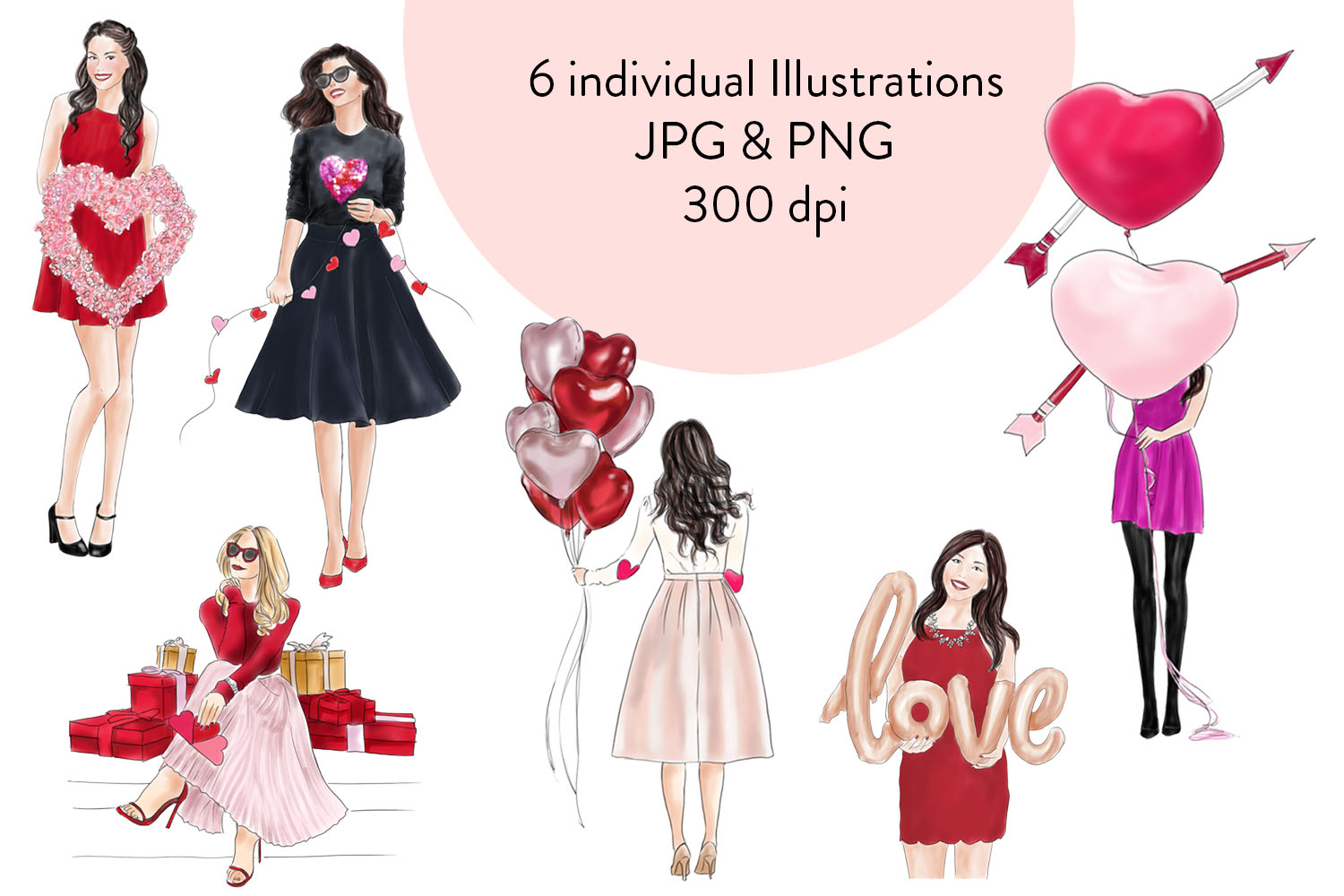 Valentine girls fashion clipart example image 3