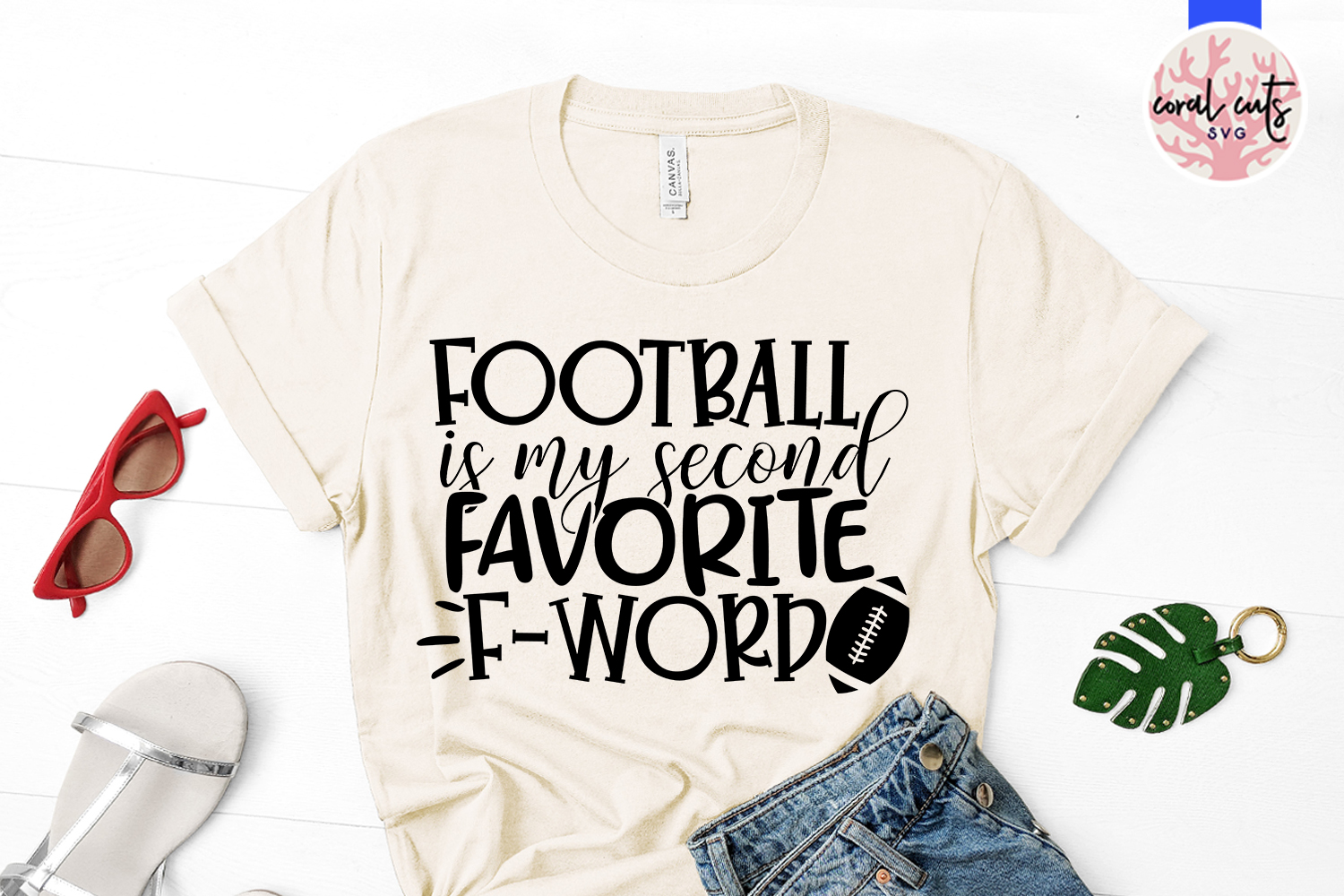 Football is my second favorite F word - Sports SVG EPS DXF example image 2