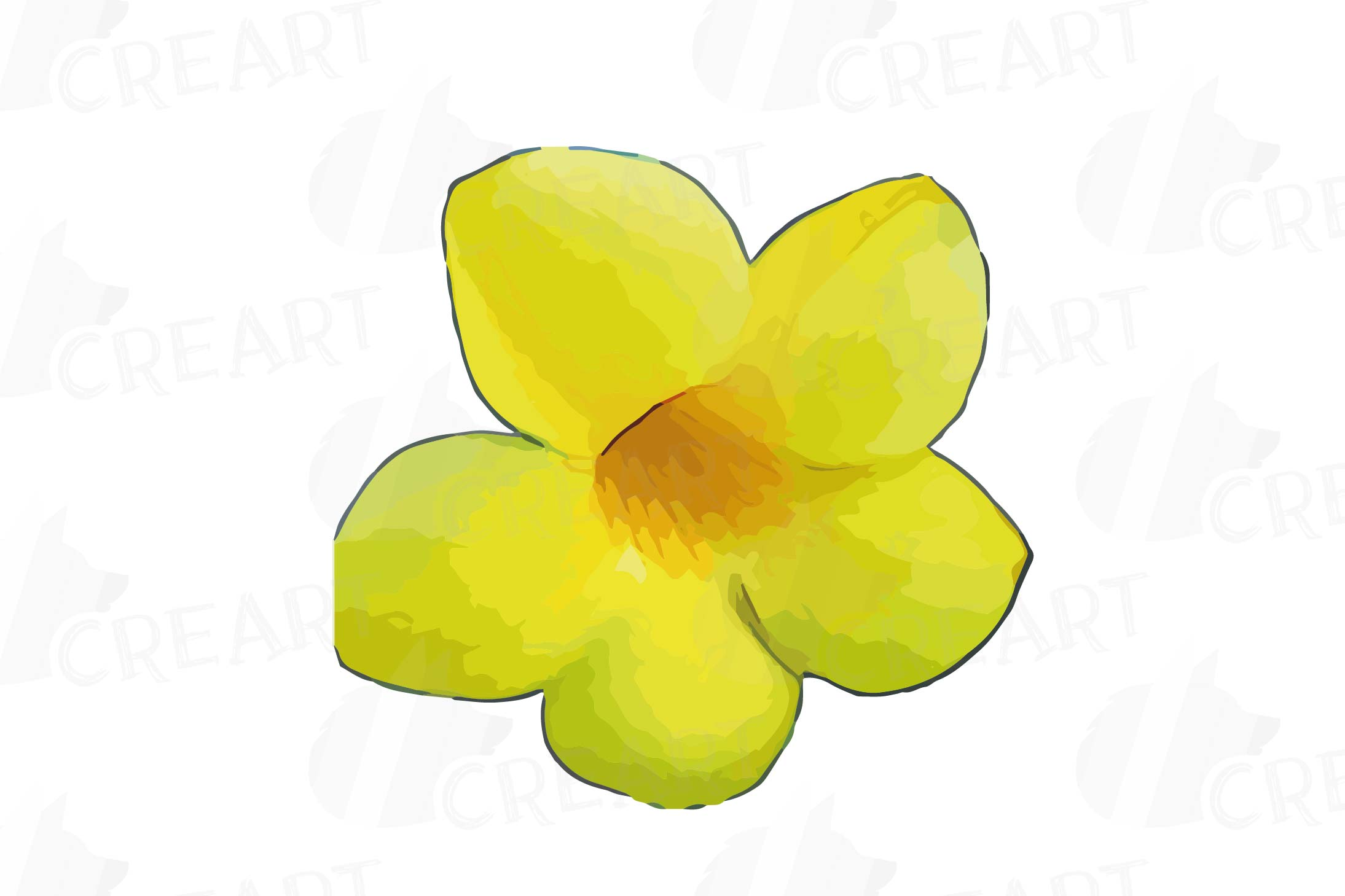 Watercolor yellow flowers and green leaves clip art pack example image 24