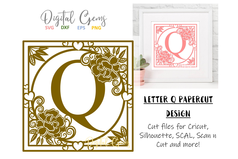 Letter Q papercut design. SVG / DXF / EPS files example image 1