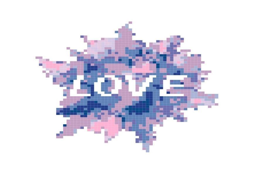 Easy, Beginner Love Splash Cross Stitch Pattern example image 1