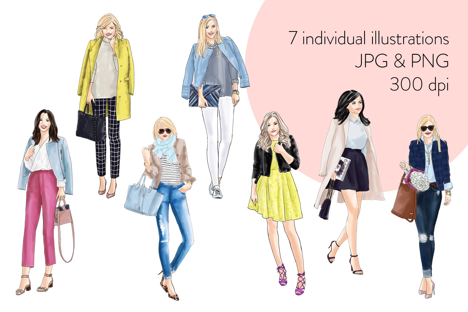 Fashion illustration clipart - Fashion Girls 21 - Light Skin example image 2