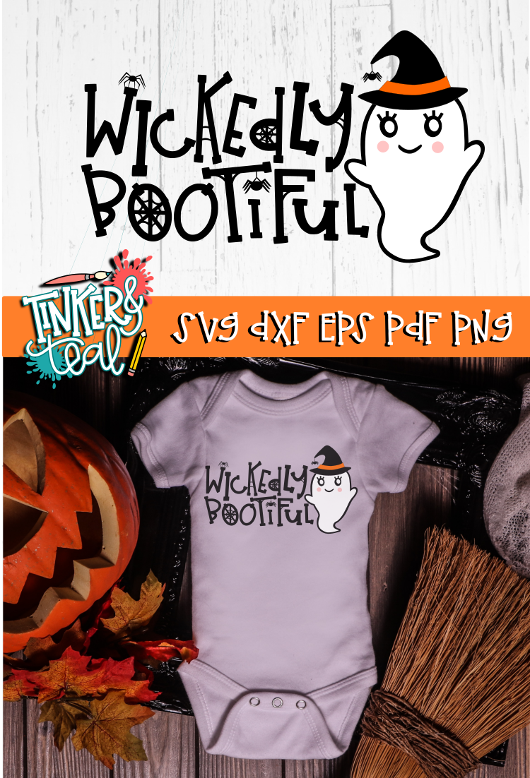 Wickedly Bootiful Ghost Halloween SVG example image 2