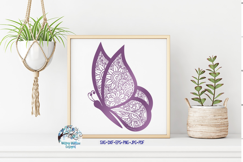 Butterfly Zentangle SVG | Animal Mandala SVG | Summer SVG example image 2