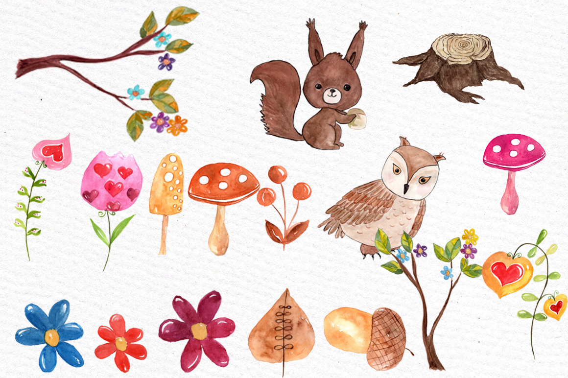 Watercolor forest animals clip art example image 3