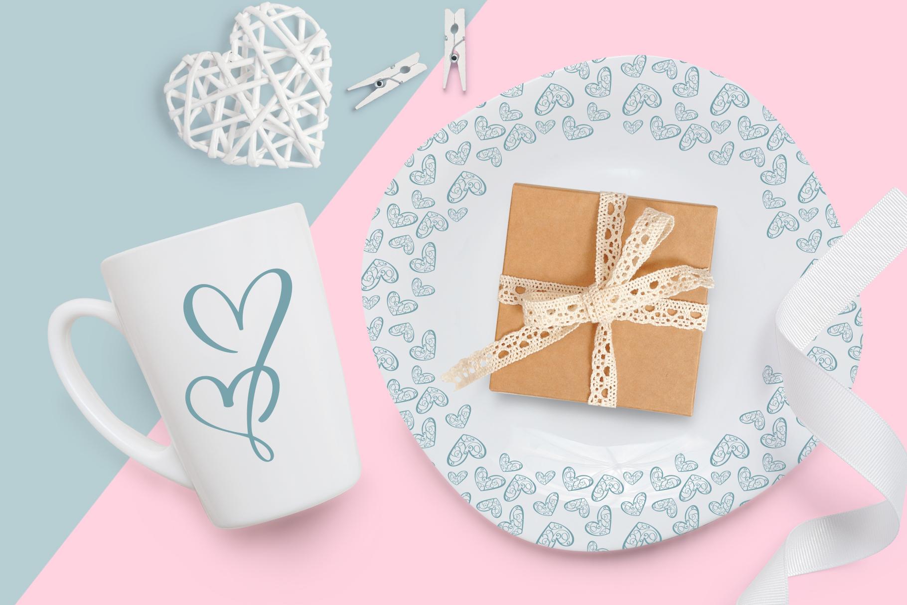 Lovingly Symbol Flourish Hearts Font example image 7