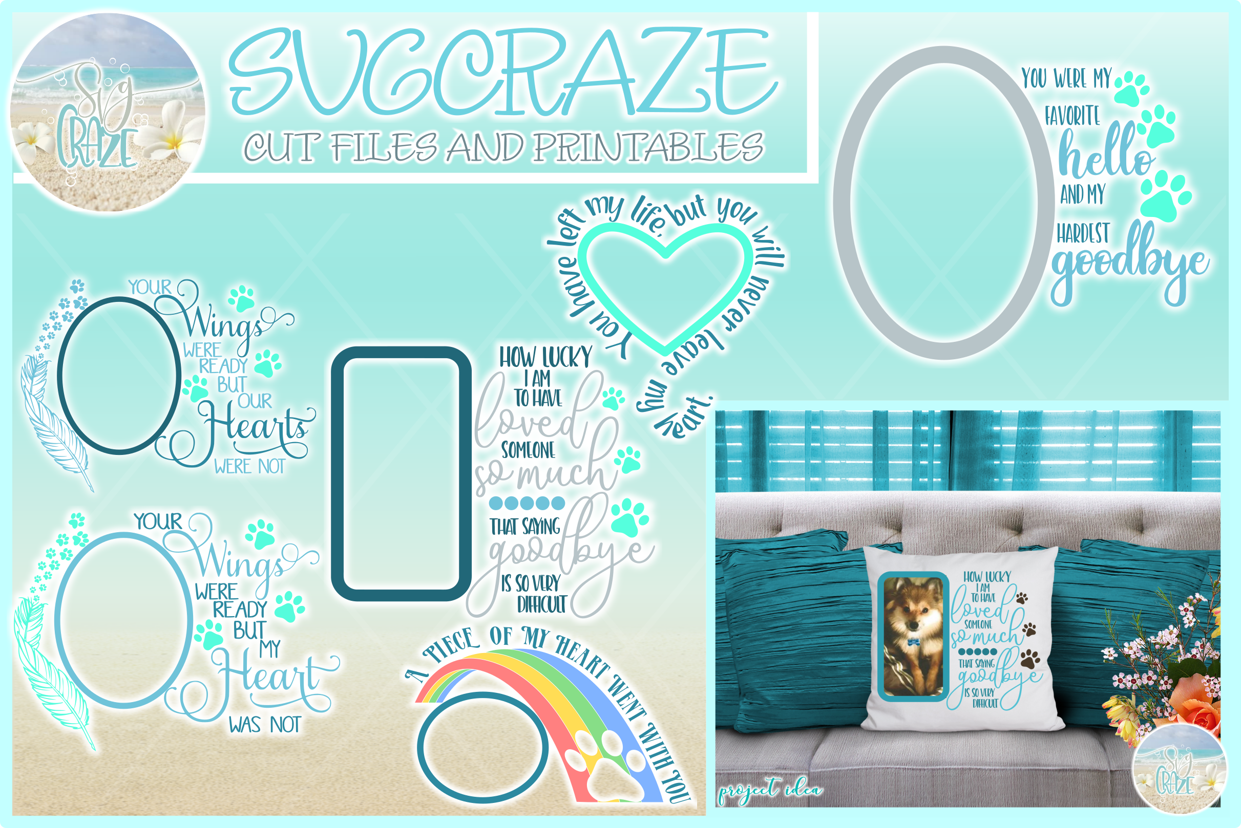 Pet Memorial Quote With Frame Bundle Svg Dxf Eps Png Pdf example image 1