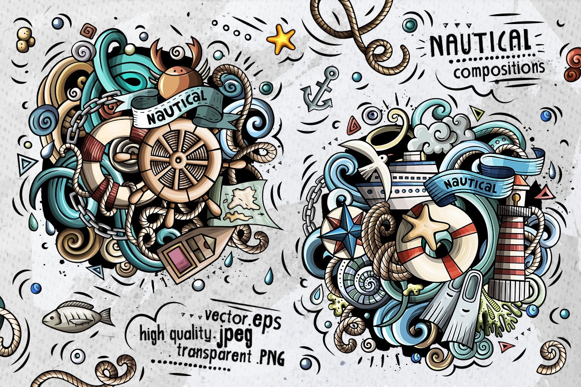Nautical Cartoon Doodle Big Pack example image 2