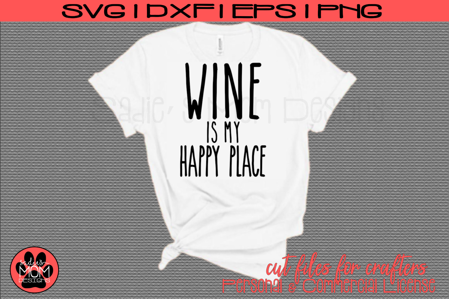 Wine is my Happy Place | SVG Cut File example image 1