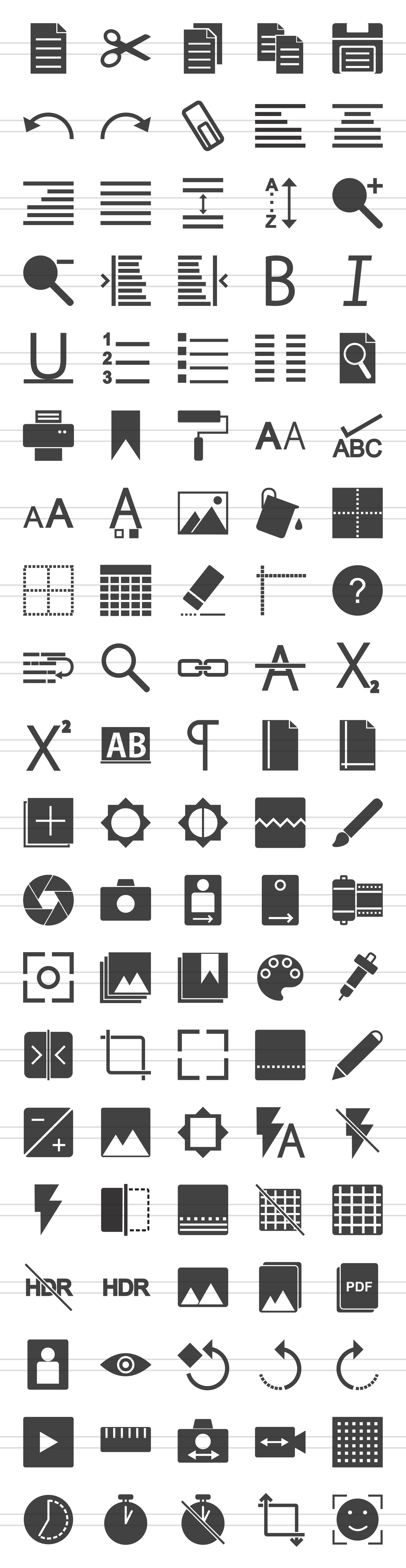100 Photo & Text Editing Glyph Icons example image 2