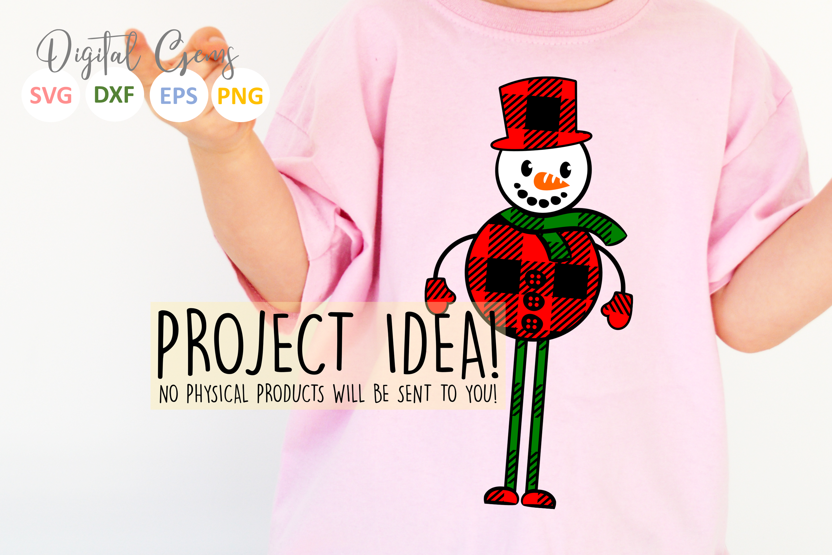 Plaid Snowman SVG / PNG / EPS / DXF files example image 5