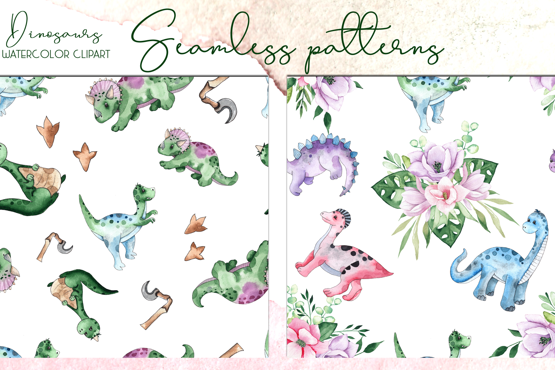 Dinosaurs. Watercolor clipart example image 10
