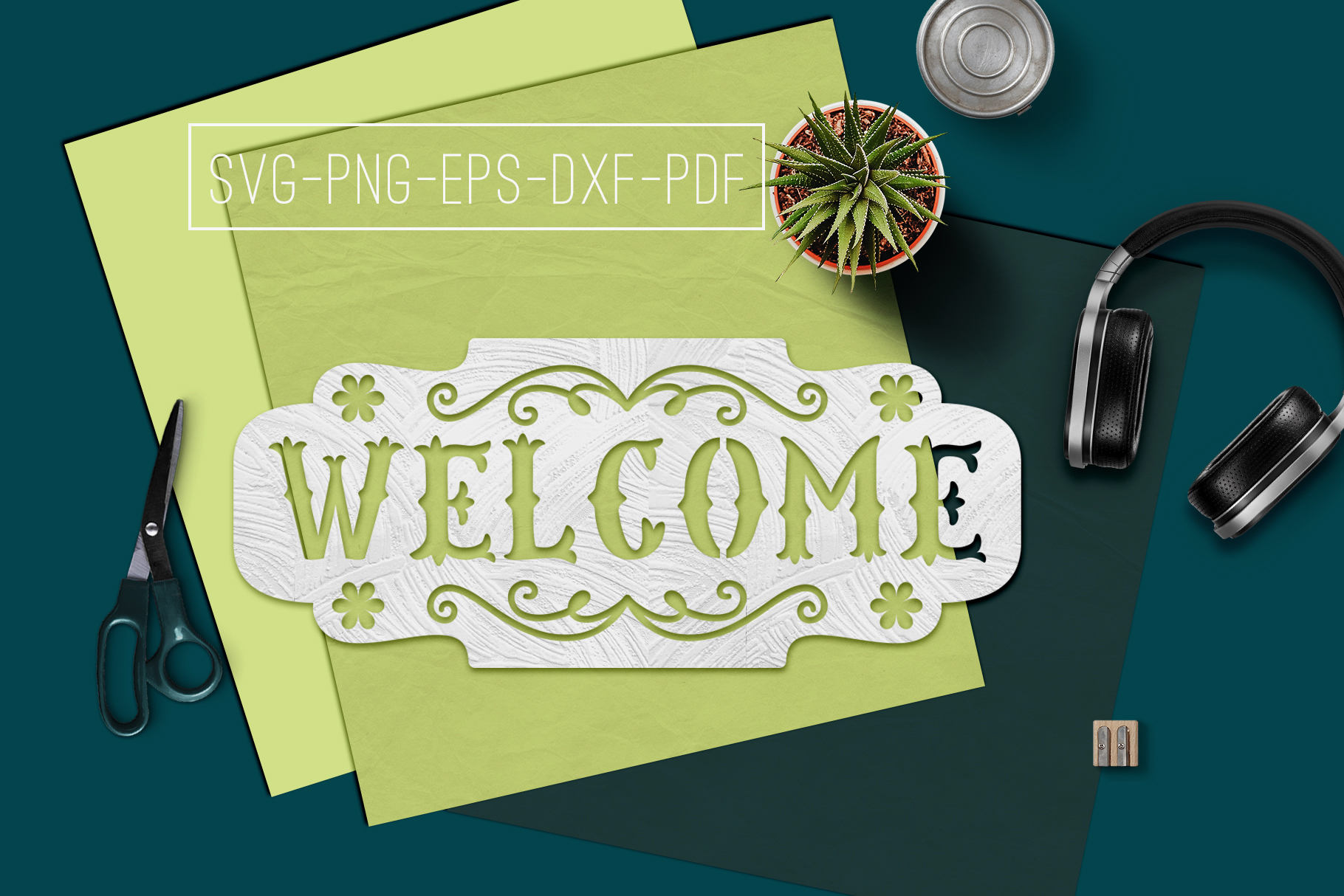 welcome sign paper cut template  home decor svg  pdf  dxf