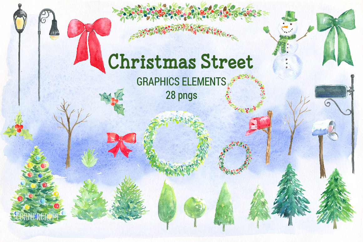 Watercolor Christmas Street  example image 3