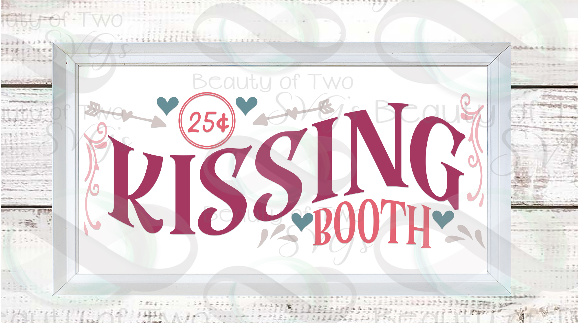 Valentines Kissing Booth svg, Valentines sign design svg example image 3