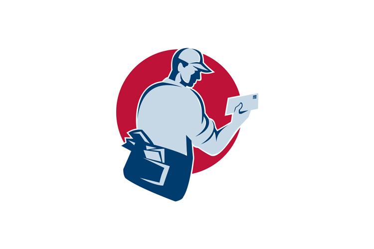 mailman postman deliver mail envelope retro example image 1