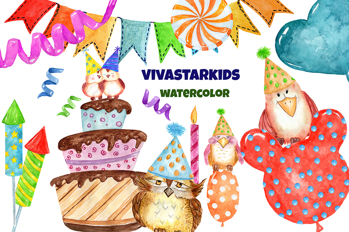 Watercolor Birthday Party Clipart example image 3