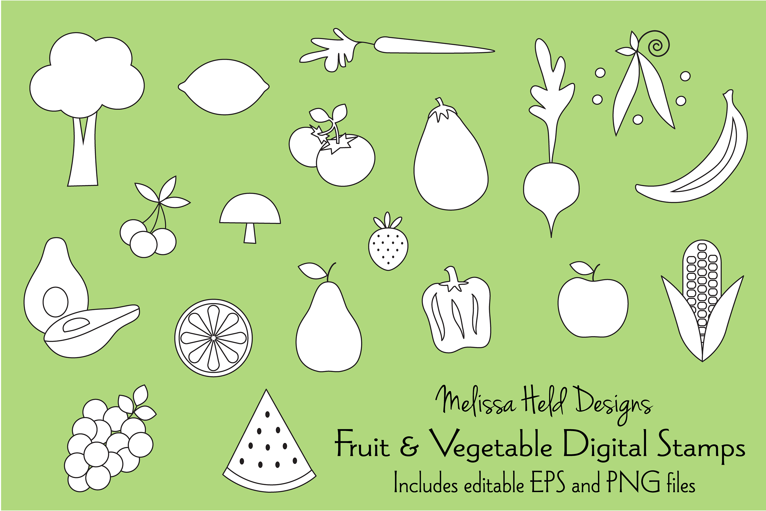 Fruits and Vegetables Digital Stamps Clipart example image 1