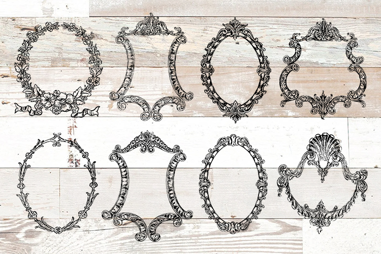 Vintage Ornate Frames Clipart Bundle PNG, EPS, SVG Vector example image 1