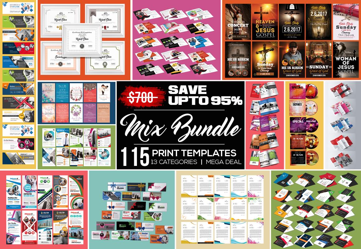 115 Mix Print Template Mega Bundle / Low Priced example image 1