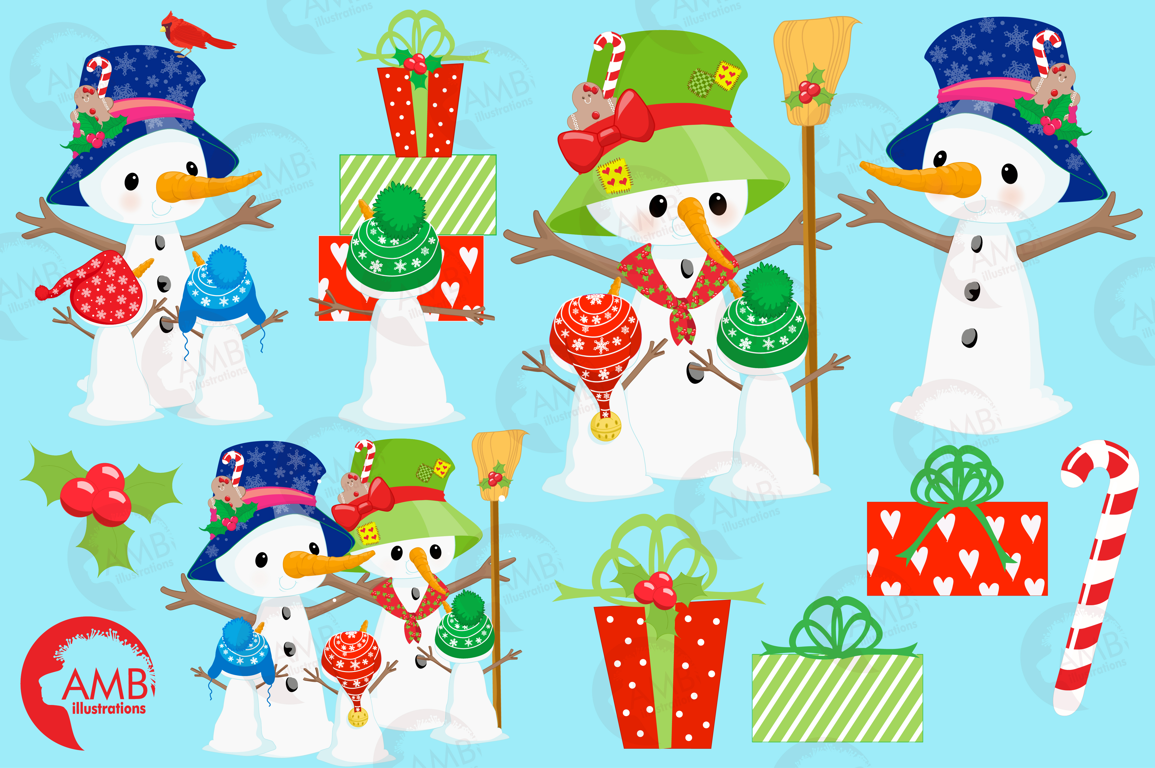 Snowman Clipart, Christmas Clipart, Frosty the Snowmen Clipart, Snowman Family, Snowman Clipart, AMB-1512clipart, graphics, illustrations AMB-1512 example image 3