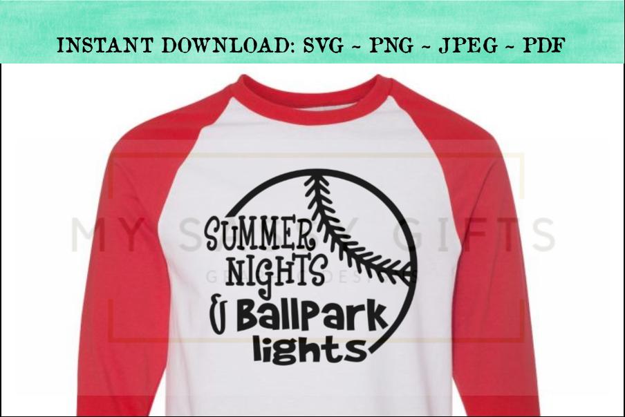 Summer Nights and Ballpark Lights Baseball SVG example image 1