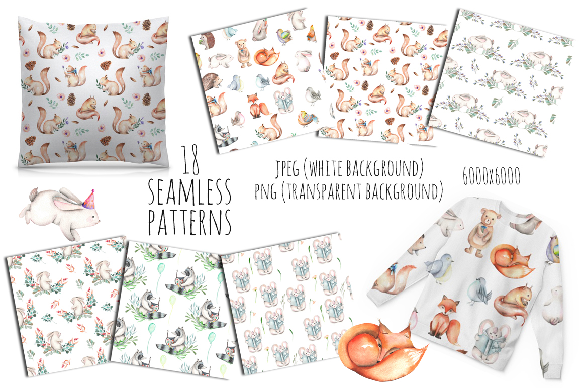 Cute forest Animals. Patterns + Wreaths example image 2