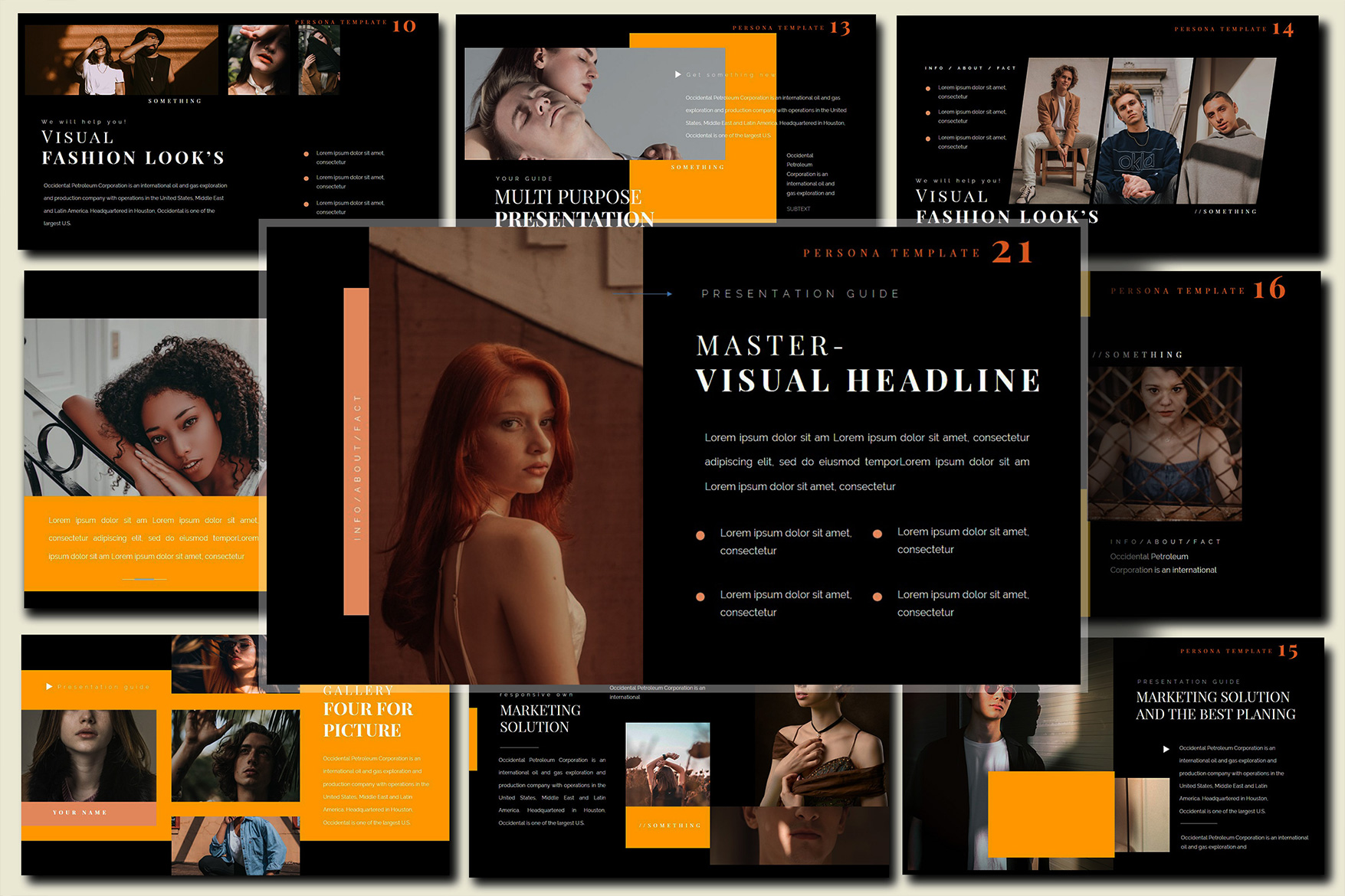 Pesona Dark Lookbook Keynote Template example image 5