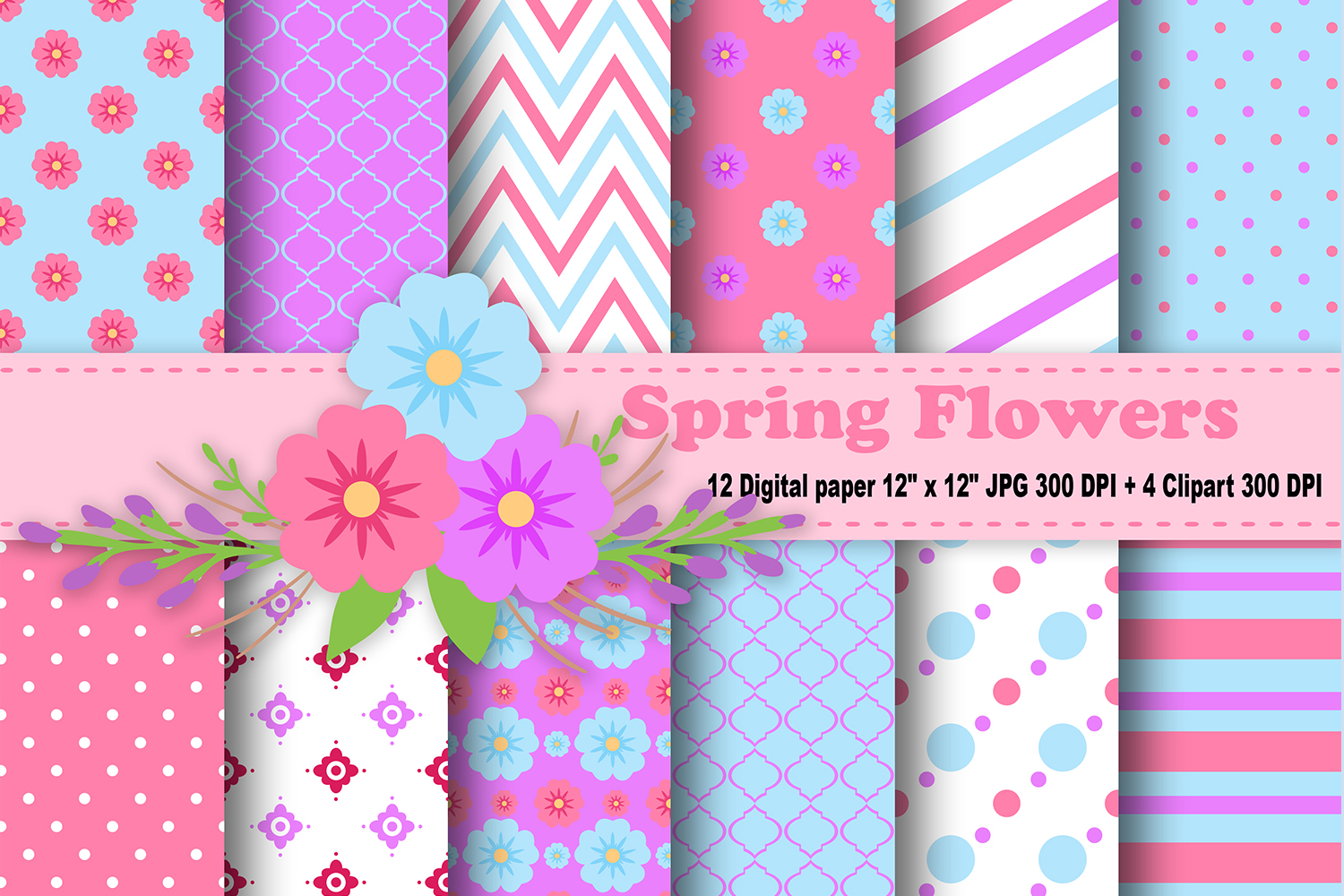 Flower Digital Paper  Floral Background  Spring Pattern