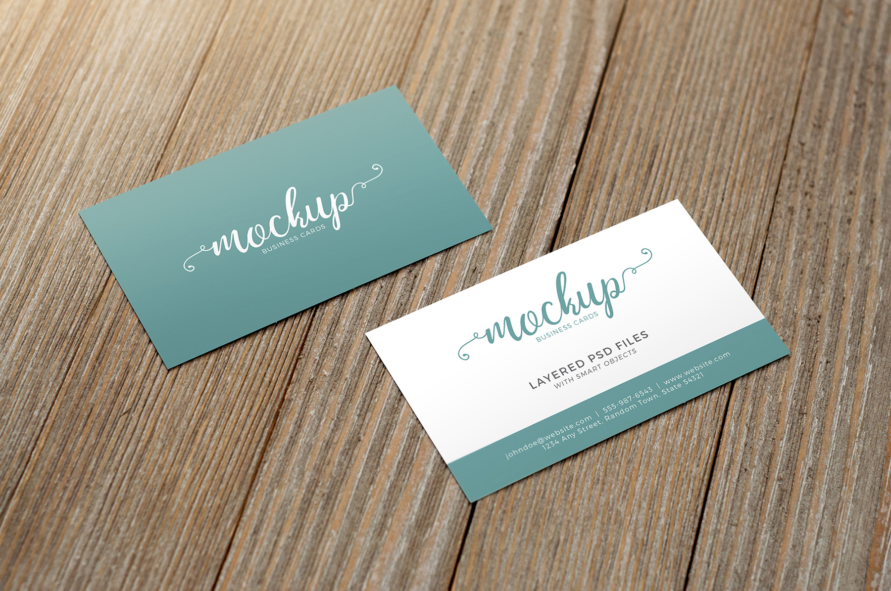 Business Card on Wood Mockup Pack example image 3