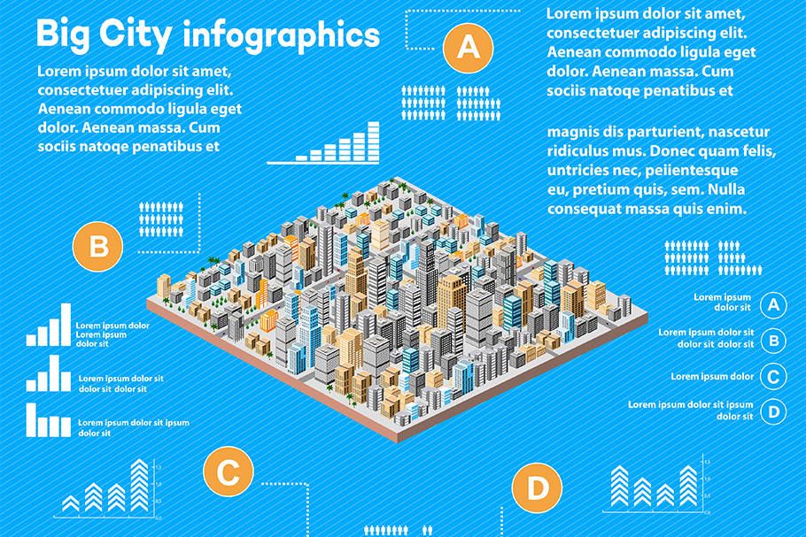 Urban infographics with isometric city example image 1