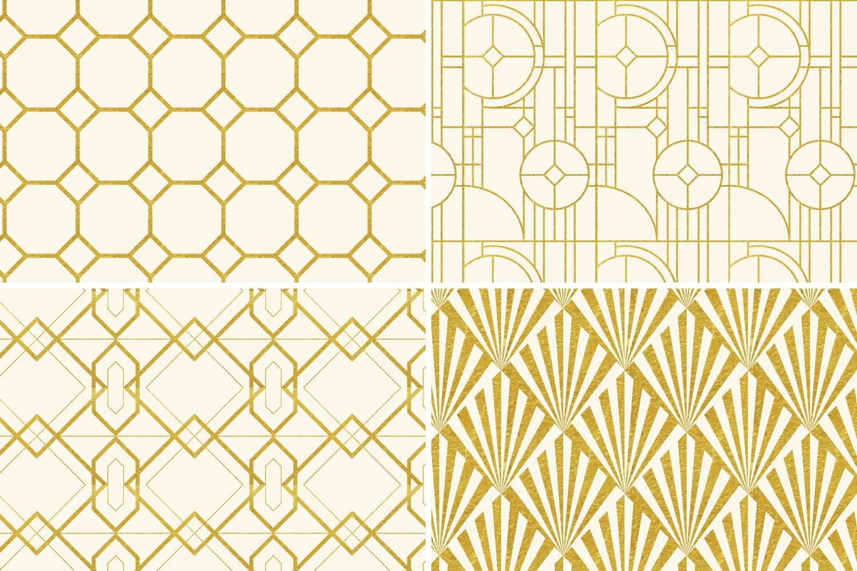 8 Seamless Art Deco Patterns - Ivory & Gold Set 2 example image 6