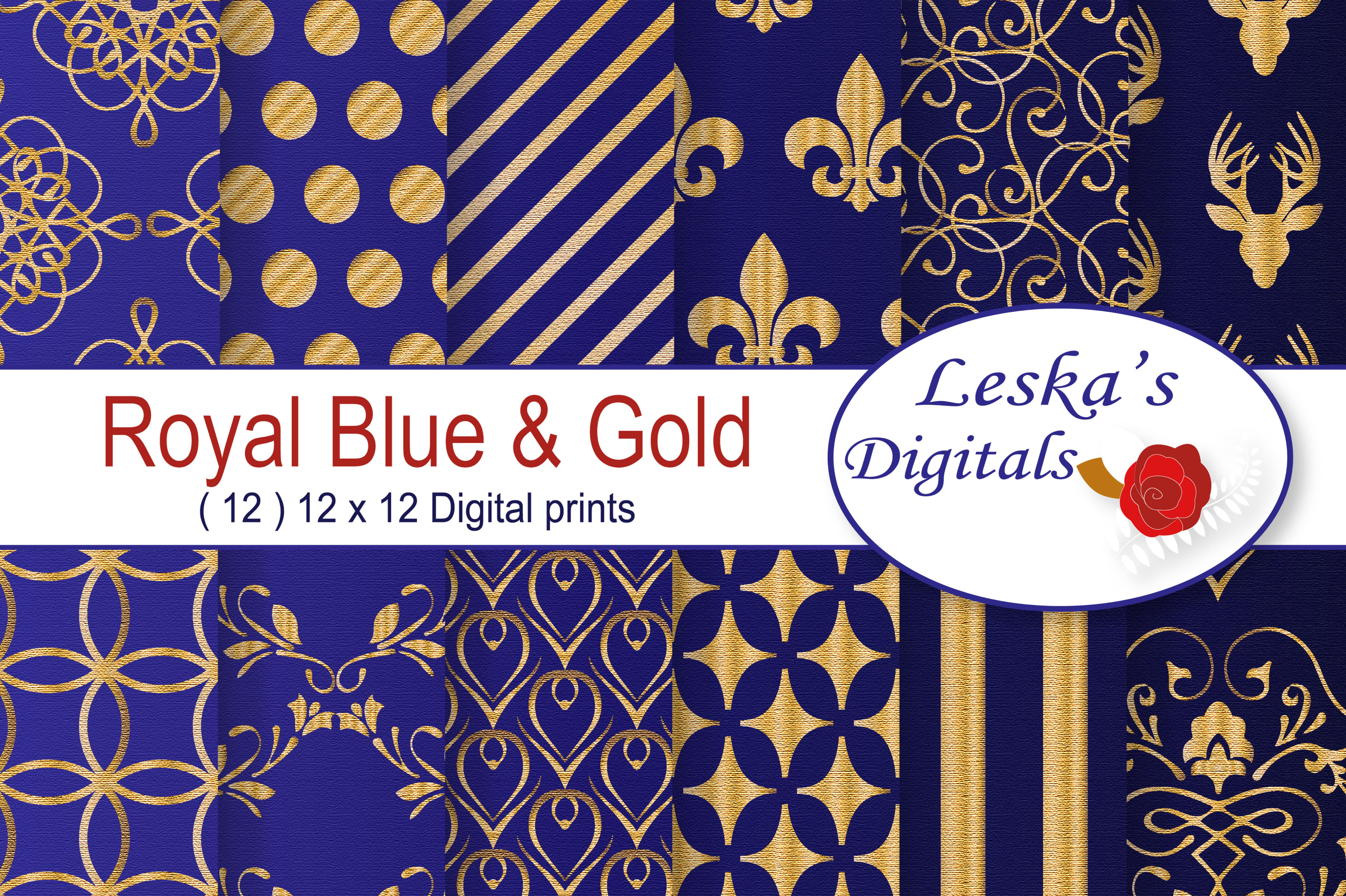 Royal Blue and Gold Digital Backgrounds example image 1