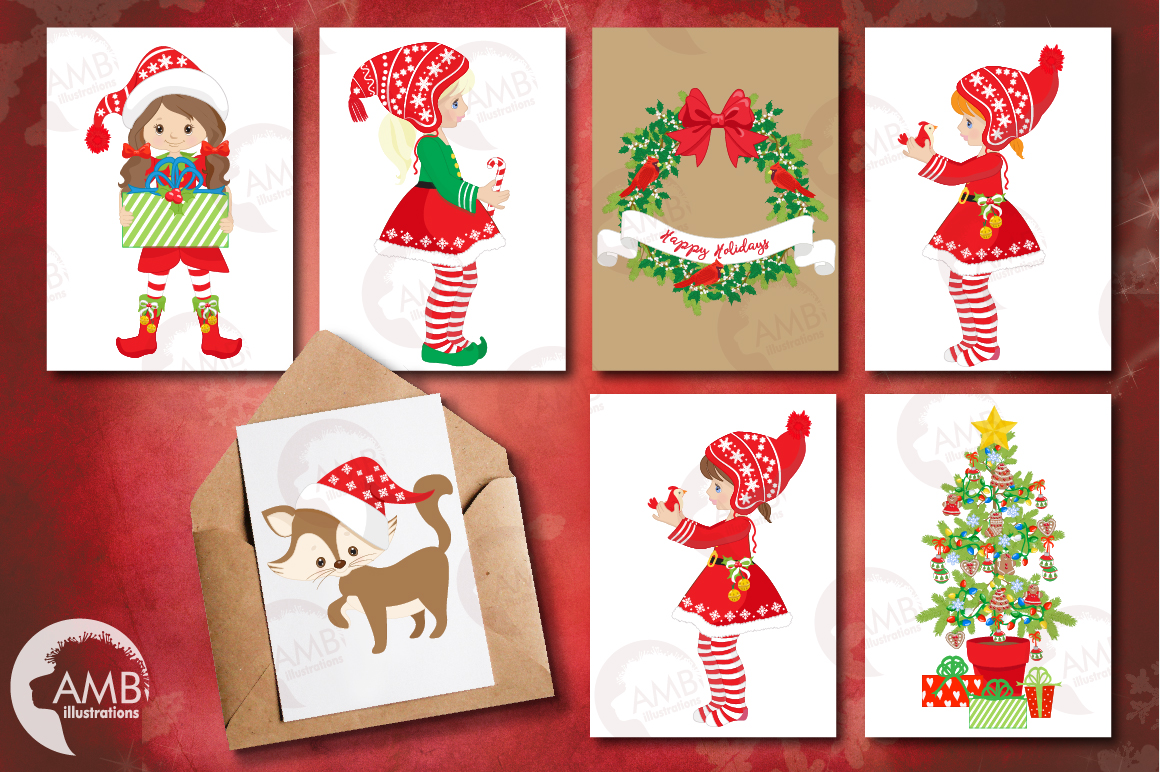 Christmas Girls, winter girls clipart, graphics, illustrations AMB-1519 example image 3